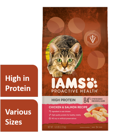 Iams Proactive Health High Protein with Chicken & Salmon Adult Dry Cat Food, 6 lb