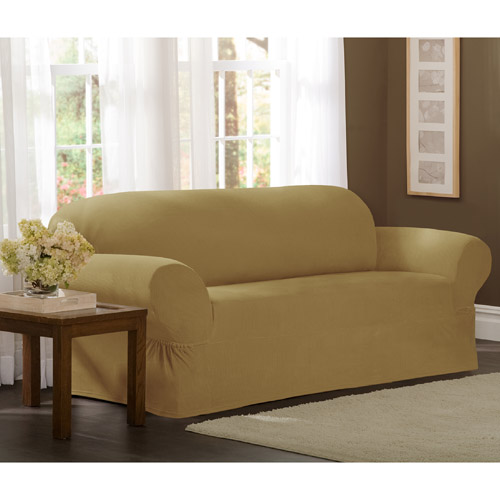 Maytex Stretch Collin 1 Piece Sofa Furniture Cover Slipcover, Gold