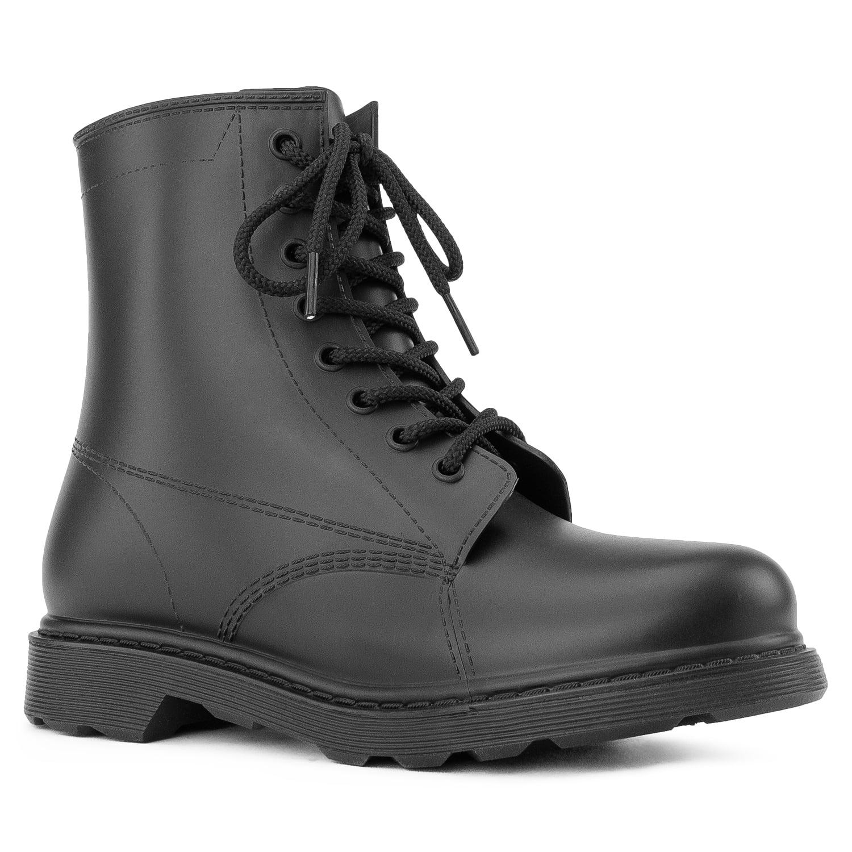 RF Women/'s PVC Military Combat Lace Up Ankle Biker Boots