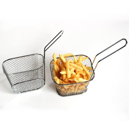 Frying Square Basket Strainer Plating Wire Mesh Fryer Tools for French Fries Fried Food ()
