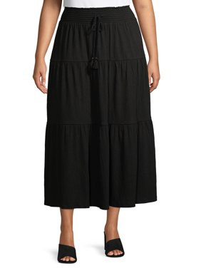 Terra & Sky Women's Plus Size Solid Tiered Maxi Skirt