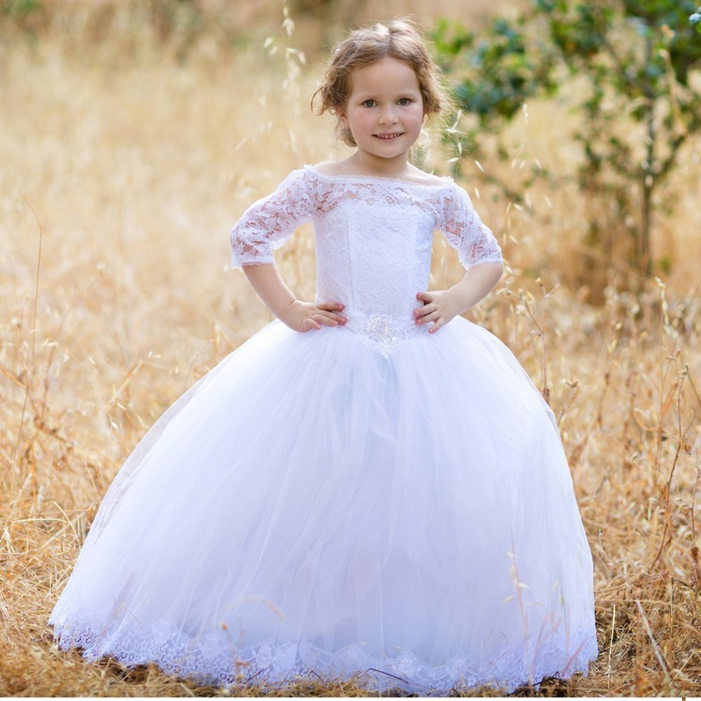 Girls White Lace Off-The-Shoulder Beaded Kirsten Flower G...