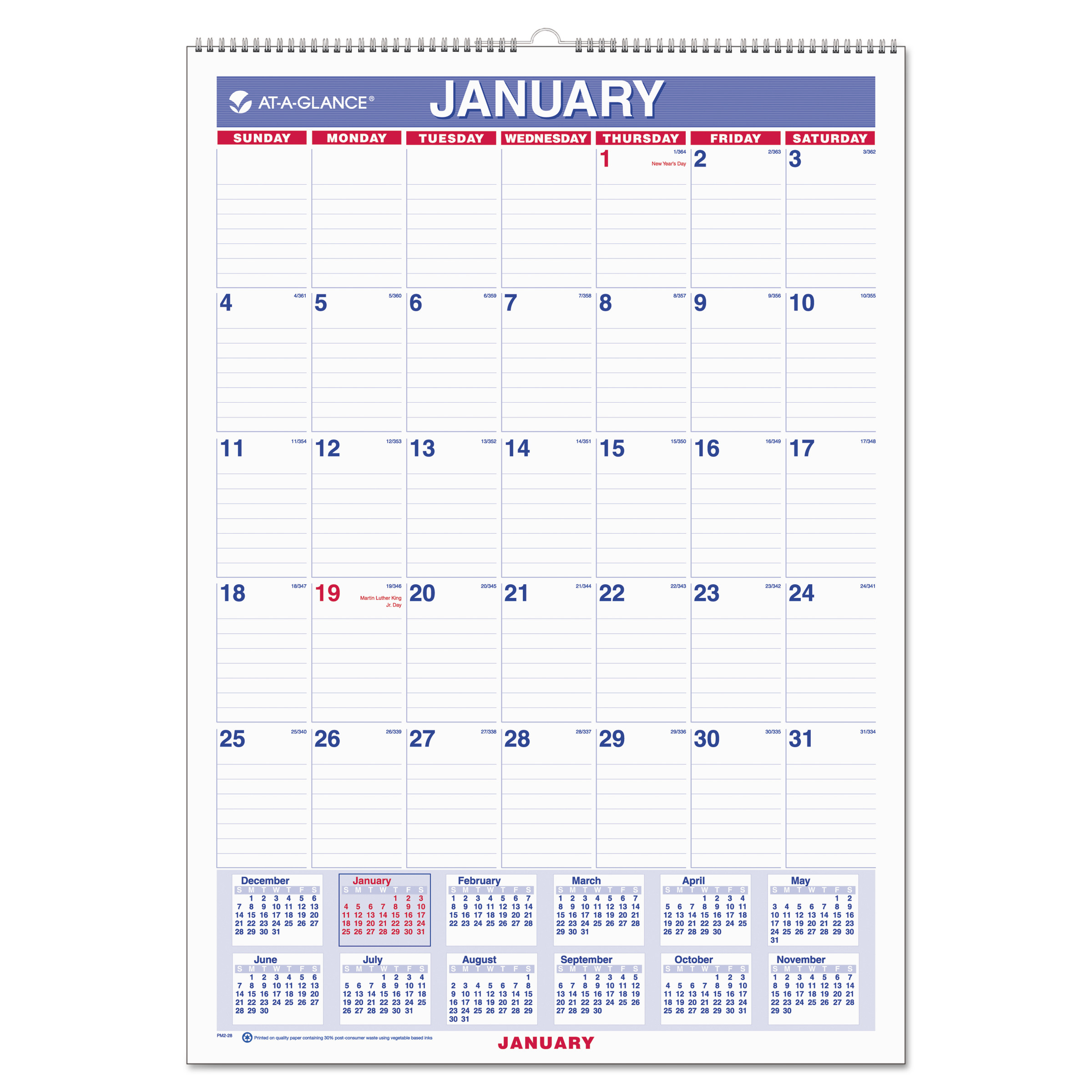 AT-A-GLANCE Monthly Wall Calendar with Ruled Daily Blocks, 12 x 17, White, 2018 by AT-A-GLANCE