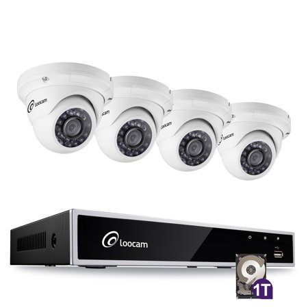 4 Channel 1080P HD DVR Surveillance Camera Kit and 4 PCS 2.0MP Indoor /Outdoor IR Weatherproof Dome Camera 150FT Night Vision with IR Cut( 1TB Hard Drive )