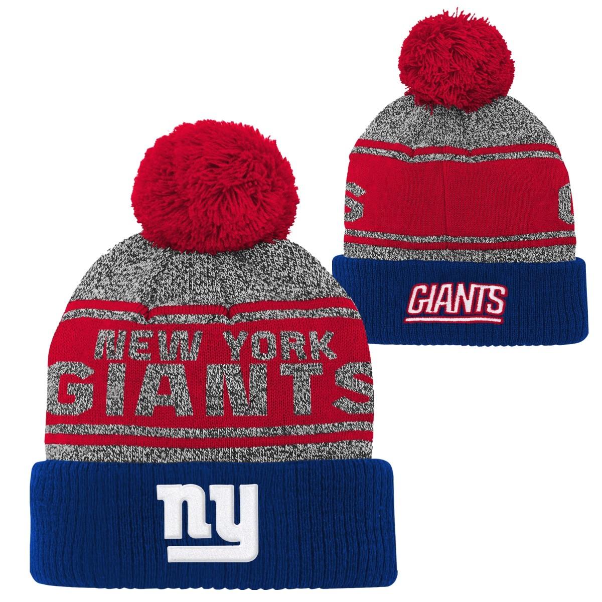 """New York Giants Youth NFL """"Legacy"""" Cuffed Knit Hat w/ Pom"""