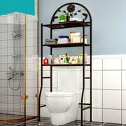 AUGIENB 3 Tier Bathroom Over The Toilet Space Saver Free Standing Metal Frame Storage Rack Rustproof Bathroom Organizer - Bronze / White
