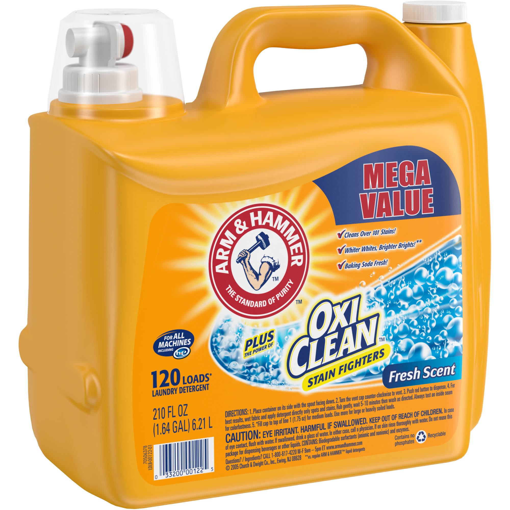 Is arm and hammer powder laundry detergent he - Arm Hammer Plus Oxiclean Stain Fighters Fresh Scent Liquid Laundry Detergent 210 Fl Oz Walmart Com