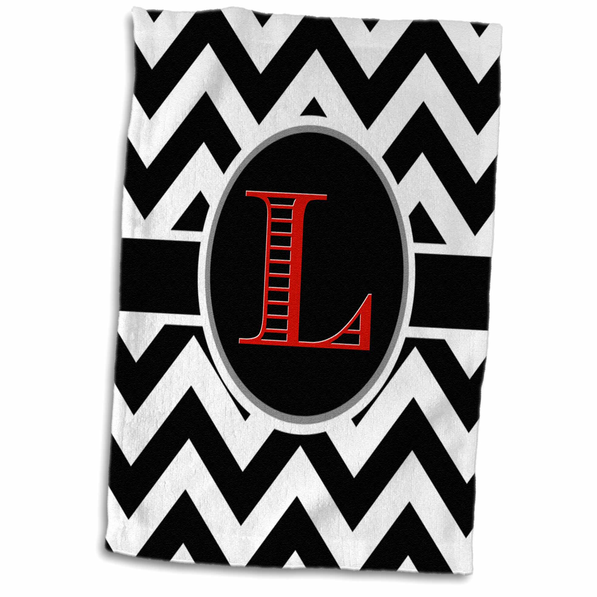 3dRose Black and white chevron monogram red initial L - Towel, 15 by 22-inch