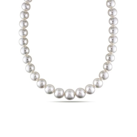 Miabella 10-12mm White South Sea Cultured Pearl Graduated Strand Necklace, 18""