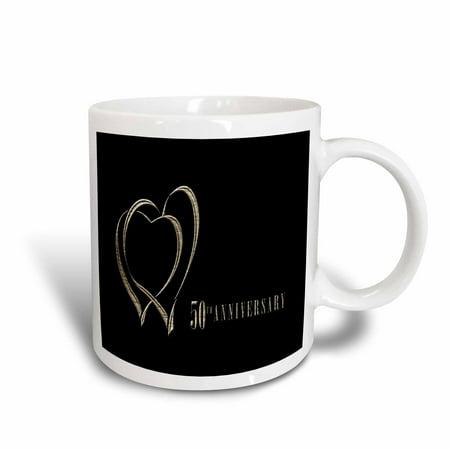 3dRose Two Gold Hearts 50th Anniversary, Ceramic Mug, - 50th Anniversary Bottle