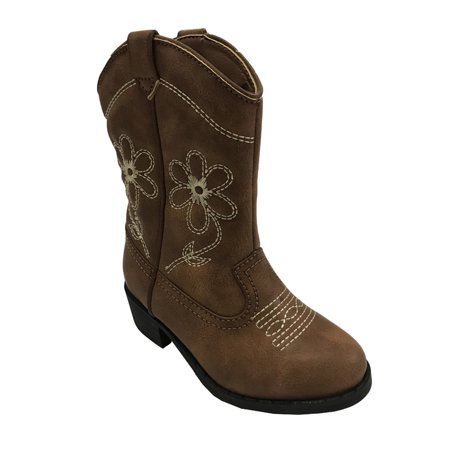 Wonder Nation Girls' Embroidered Flowers Cowboy Boot - Furry Boots For Girls