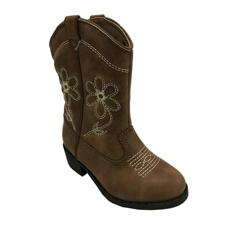Wonder Nation Girls' Embroidered Flowers Cowboy - Interchangeable Boots