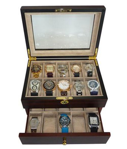 20 Piece Ebony Walnut Wood Mens Watch Box Display Case Jewelry Box