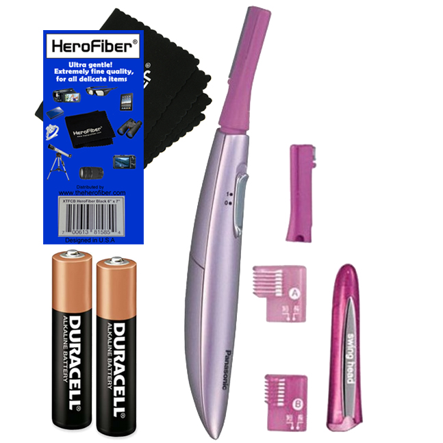 Panasonic ES2113PC Facial Hair Trimmer for Women, with Pivoting Head and Eyebrow Trimmer Attachments + 2 AAA Batteries + HeroFiber® Ultra Gentle Cleaning Cloth