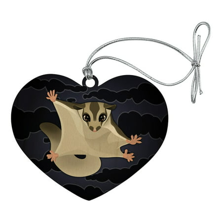 Sugar Glider of the Night Heart Love Wood Christmas Tree Holiday Ornament ()