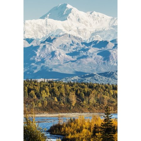 Denali viewed from the Parks Highway interior Alaska near South Viewpoint rest stop Alaska United States of America Poster Print by Doug Lindstrand  Design