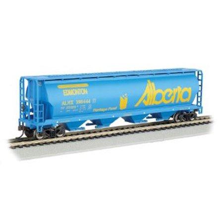 Bachmann Industries Canadian 4-Bay Cylindrical Grain Hopper Alberta Train Car, N Scale Multi-Colored