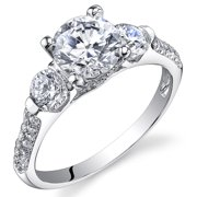 1.44 Ct 3 Stone Cubic Zirconia Engagement Ring in Rhodium-Plated Sterling Silver