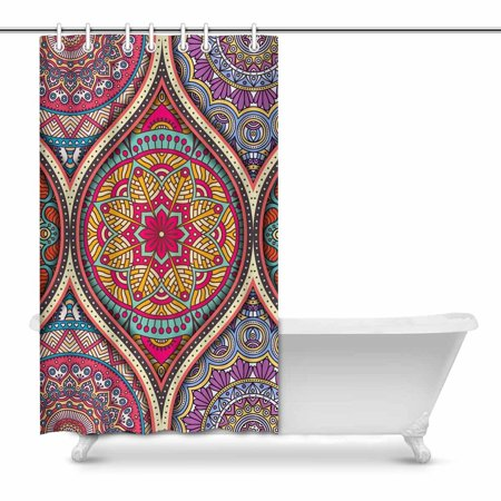 POP Pattern Tile with Mandalas Country for Bathroom Shower Curtain 48x72 inch - image 1 of 1
