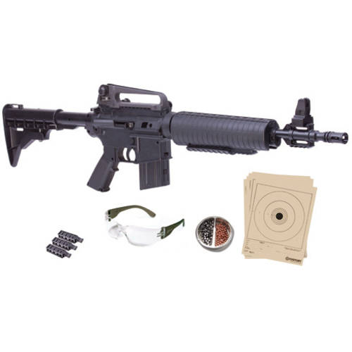 Crosman M4 Bundle .177 Caliber Multi-pump Air Rifle with All-Weather Stock, Black