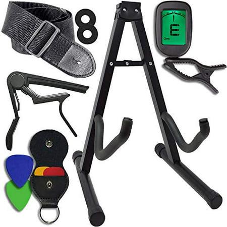 Guitar Accessories Kit - Stand, Clip-on Tuner, Strap w/Locks