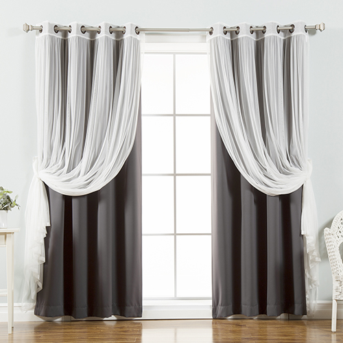 Dark Grey 52 x 96 In. Sheer Lace and Blackout Window Treatments, Set of Four