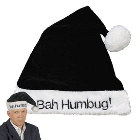 HOLIDAY CHRISTMAS SANTA HAT BLACK BAH HUMBUG SCROOGE