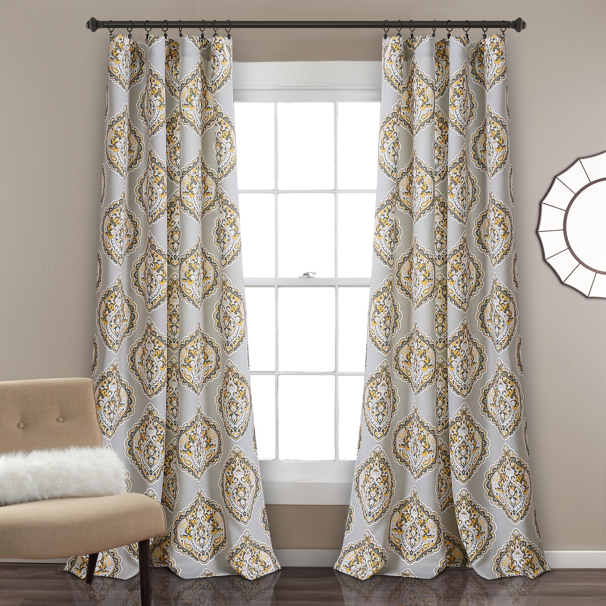 Harley Room Darkening Window Curtain Panels Yellow/Gray Set 52x84