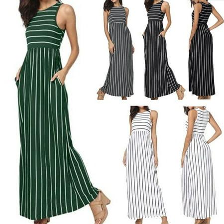 Hot Summer Women´s Sleeveless Striped Pockets Flowy Casual Long Maxi Dress New for $<!---->