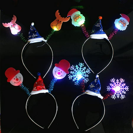 Halloween Christmas Party Cute Animal Healthy LED Light Hairband Children's Toys for Kids Gifts Style:Christmas mixed style