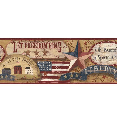 York Wallcoverings Country Book Americana 15' x 9'' Wallpaper Border