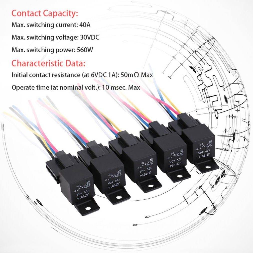 Outad 5pcs Set Practical 12 Volt 40 Amp Automotive Relay With Power Harness Socket Wires