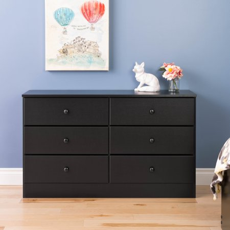 Prepac Astrid 6-Drawer Dresser, Deep Black (Deep Drawer)
