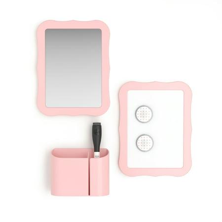 U Brands Locker Accessories Kit, Back to School Essentials, Blush, 6-Piece, Includes Whiteboard, Mirror and Organizing Supplies ()