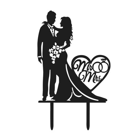 Cake Topper Creative Bride and Groom Shape Party Cake Topper Wedding Cake Topper Cake Decorations Baking Supplies - Brunette Bride Cake Topper