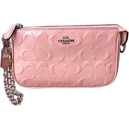 Coach Women's Large Wristlet Clutch Bag w/ Chain in Signature Debossed Patent Leather - Petal