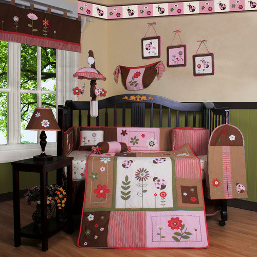 Ladybug Flower 13-Piece Baby Bedding Set