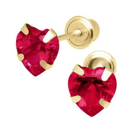 6846b9ec6 Jewelry 14K Yellow Gold 5mm Cubic Zirconia Heart July Birthstone Stud  Screwback Earrings - image 1 ...