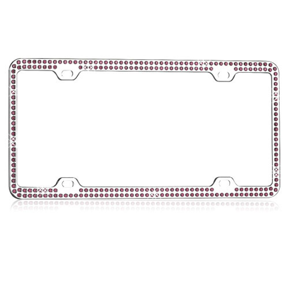Insten Purple Crystals Chrome Coating Metal Frame with Double Row Crystals - image 1 de 2