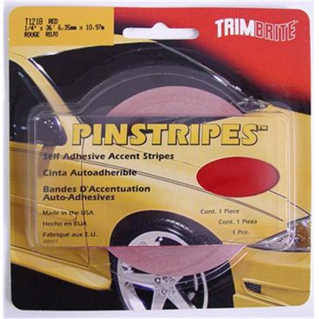 TRIMBRITE T1218 Pinstripe Tape, Red, 0.25 In. X 36 Ft.