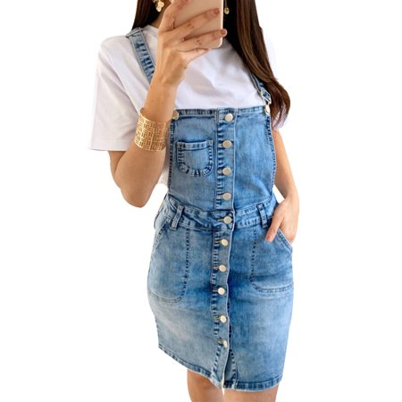 Women Denim Jeans Overall Mini Dungaree Dress Ladies Summer Button Casual