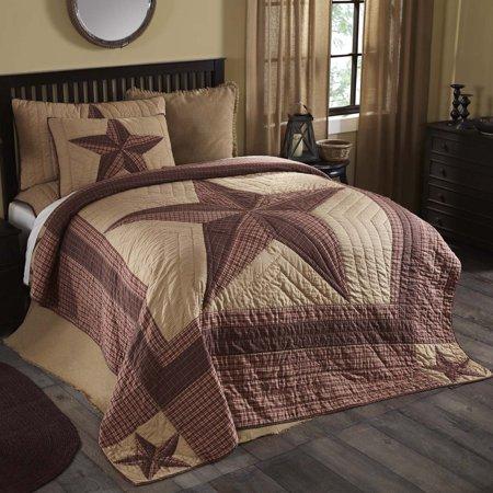 Khaki Tan Primitive Bedding Lucas Cotton Pre-Washed Patchwork Star King Quilt