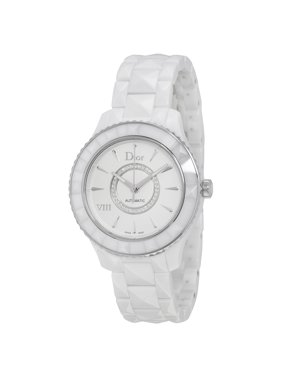 VIII Diamond Automatic White Ceramic and Stainless Steel Ladies Watch CD1245E3C002