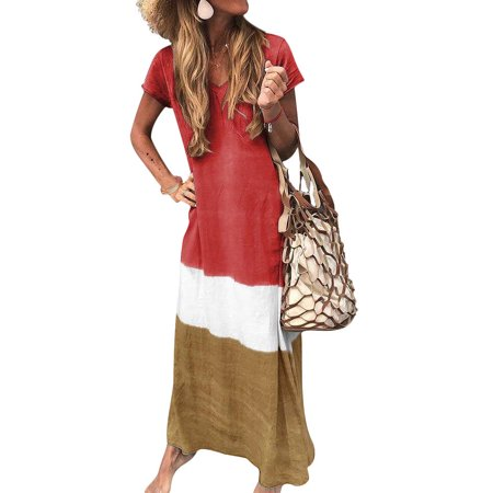 Retro Long Shirt Dress For Women Casaul Beach Long Dress Short Sleeve Boho Baggy Kaftan Peasant Ethnic Boho Gypsy Loose Caftan Sundress Ladies Party Holiday Cocktail Dress Plus Size 4-20