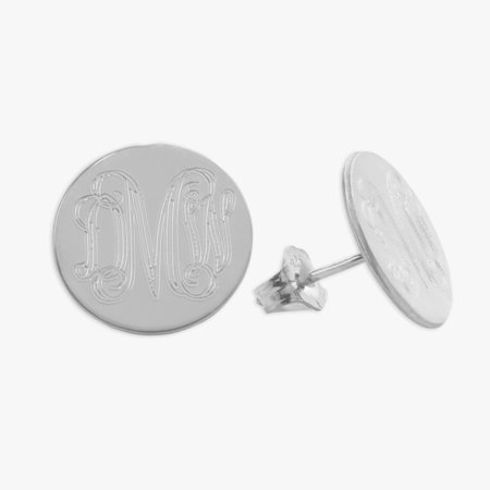 Engraved Stud (Personalized Sterling Silver Engraved w/ Monogram Stud)