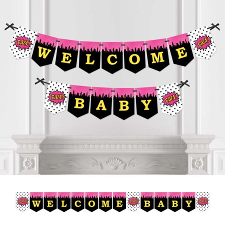 BAM! Girl Superhero - Baby Shower Bunting Banner - Comic Book Party Decorations - Welcome Baby - Comic Book Banner