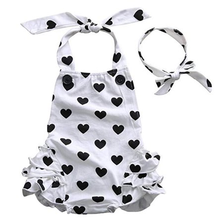 Baby Little Girl Peach Heart Romper Sleeveless Bodysuit With Bowknot (Heart Romper)