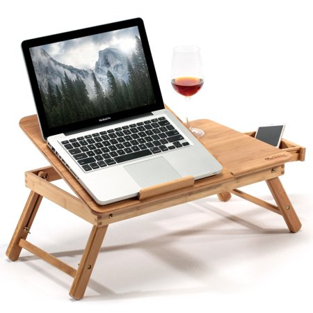 Estink Lapdesk Table Bamboo Laptop Desk Adjustable Foldable Breakfast Serving Bed Tray with Tilting Top Drawer