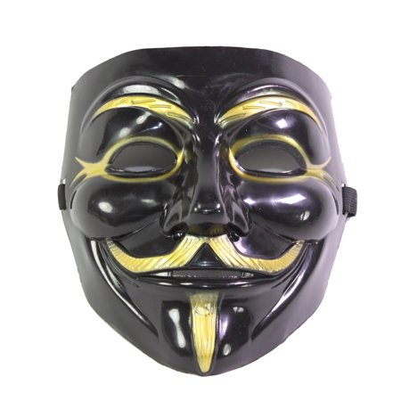XXXXX Black V for Vendetta Guy Fawkes Anonymous Costume Halloween Cosplay Protest Mask - V Halloween Mask