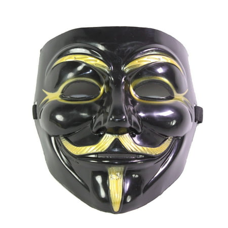 XXXXX Black V for Vendetta Guy Fawkes Anonymous Costume Halloween Cosplay Protest - Black Halloween Mask Runescape 07